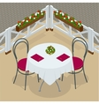 Table with chairs for cafes Modern table and vector image
