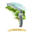 Chinese Great Wall Watercolor icon vector image