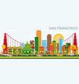 san francisco skyline with color buildings and vector image