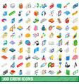 100 crew icons set isometric 3d style vector image