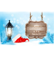Winter christmas with a sign lantern and a santa vector image