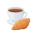 croissant and coffee vector image