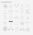 halloween set style line icons on white vector image