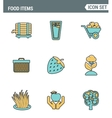 Icons line set premium quality of food Items vector image