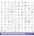 100 web development icons set outline style vector image