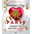Valentines day party flyer with red heart gold vector image
