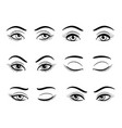 open and closed female eyes set vector image