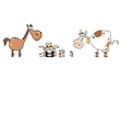 Cartoon cows with farmer vector image