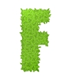 Uppecase letter F consisting of green leaves vector image