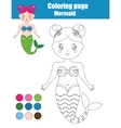 Coloring page with mermaid Children educational vector image