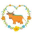 card with lovely cute pattern cow in the heart of vector image