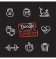 doodle style line icons sports set Cute vector image