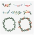 Hand drawn set of floral bouquets and wreath with vector image