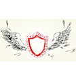 Shield with wings Hand-drawn version of raster vector image