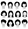 Woman hairstyle black hair silhouettes vector image vector image