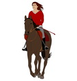 woman riding horse vector image