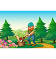 A hardworking woodman chopping the wood near the vector image