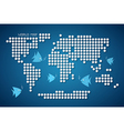 Dots World Map with Fish vector image vector image