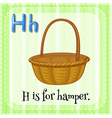 Flashcard letter H is for hamper vector image vector image