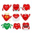 Set of cartoon heart characters vector image