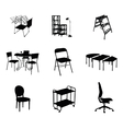 Silhouettes of furniture set black color vector image