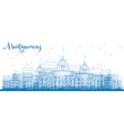 Outline Montgomery Skyline with Blue Buildings vector image
