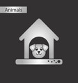 Black and white style icon dog in booth vector image