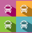 bus school icon with shadow on colored backgrounds vector image