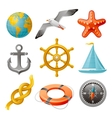 Sailing vacation and navigation elements colorful vector image