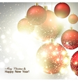 Christmas background with Red christmas balls and vector image vector image