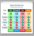 Template for price plans subscriptions etc in vector image