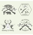 Set of vintage hunting and fishing vector image