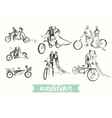 Drawn happy bride groom bicycle sketch vector image