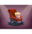 Cinema chair with popcorn vector image