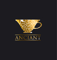 decorative antique textured gold luxury cup icon vector image