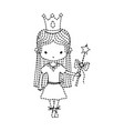 dotted shape girl dancing ballet with magic wand vector image