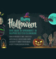 horizontal poster with halloween party calligraphy vector image