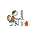 man at work sketch for your design vector image