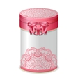 Round gift box with bow and pink lace pattern vector image