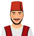 turkish man avatar sultan in national suit vector image