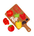 vegetable slices on cutting boardpizza ingredient vector image