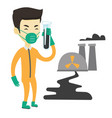 man in radiation protective suit with test tube vector image