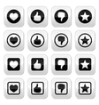 Like thumb up love favorite icons set vector image vector image