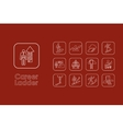 Set of career ladder simple icons vector image