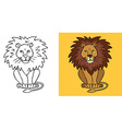 lion on yellow background vector image