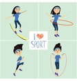 Training girl icons set I love sport vector image