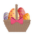 basket eggs easter vector image