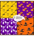 Halloween seamless patterns set with hats vector image