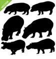 Hippopotamus silhouettes vector image