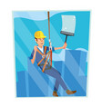 windows cleaning worker professional vector image